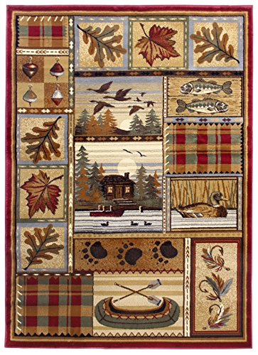Rugs 4 Less Collection Wilderness Nature Themed Cabin Style Area Rug Design R4L 759 (5'X7')