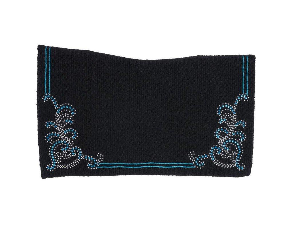 Tough 1 Contour Wool Saddle Blanket w/Floral Turq