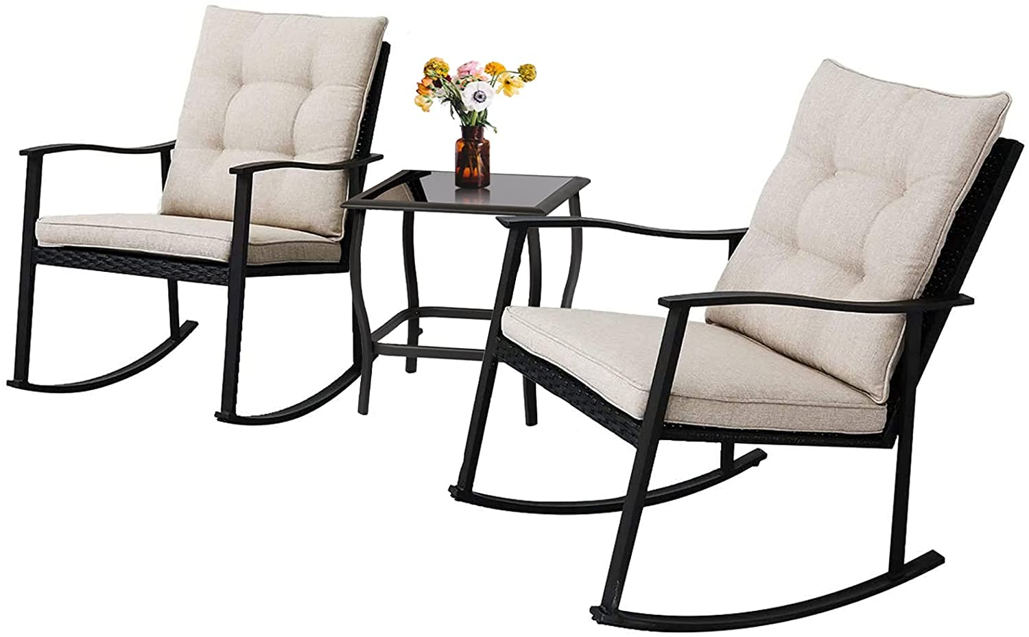 solaura outdoor furniture 3 piece rocking wicker patio bistro set black wicker with beige cushion two rocking chairs with glass coffee table
