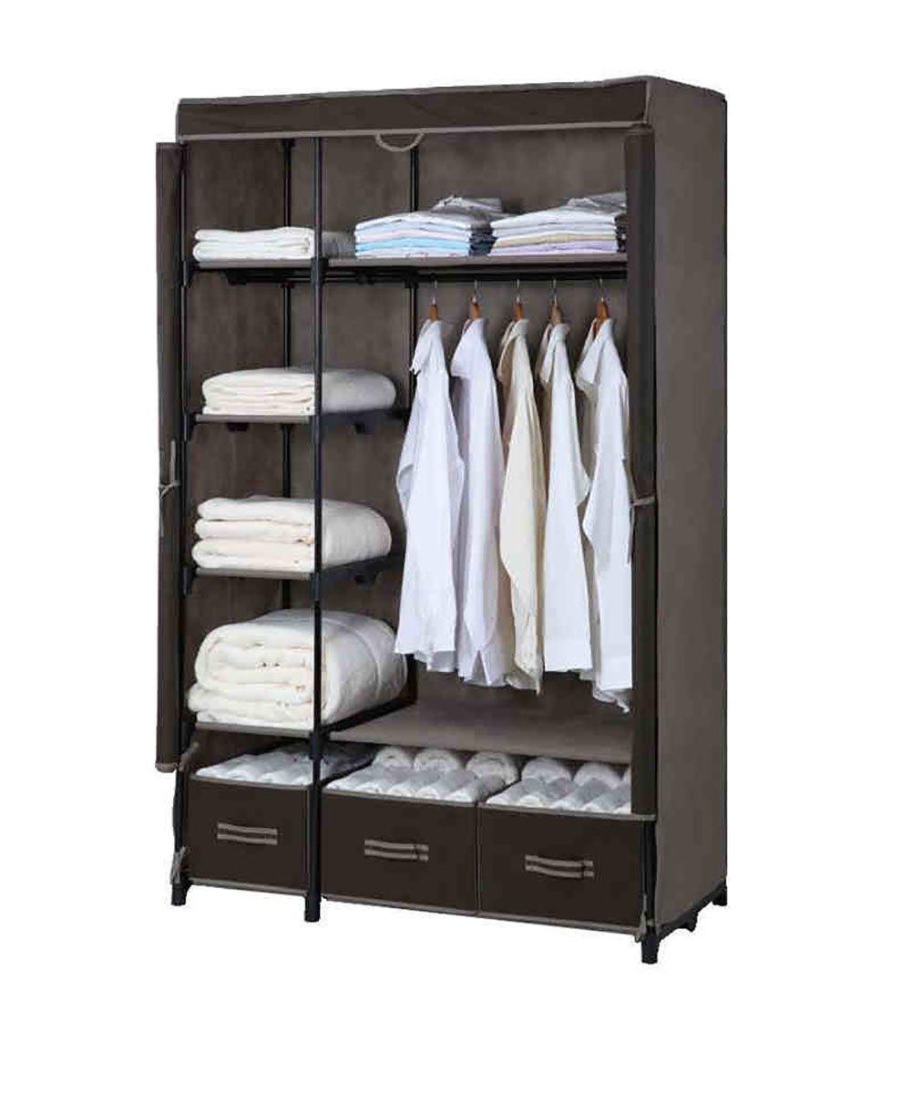 BLACK ZEMIN Floor Standing Coat Rack Clothes Hat Hanger Wardrobe Cloth Cabinet Curtains Shelf Drawer, 4 colors Available, 110  50  175CM (color   Brown)