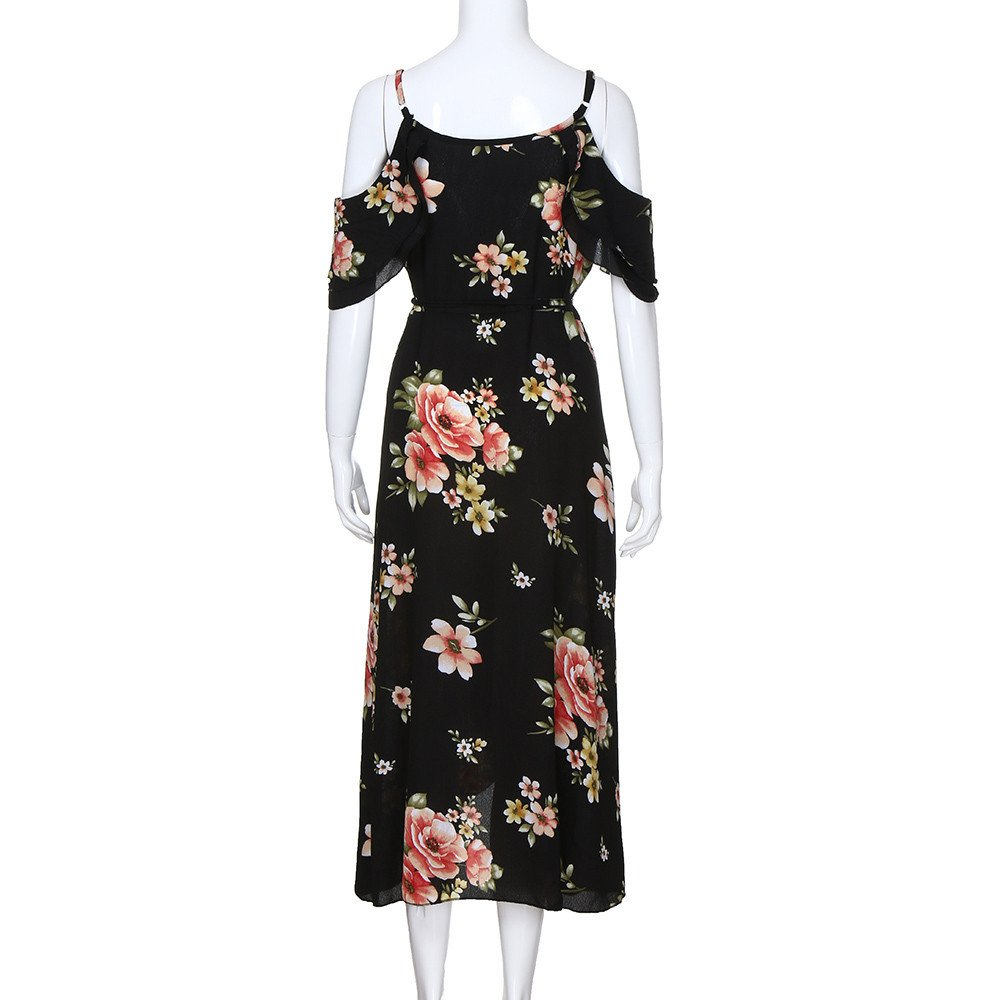 8e077963dd9 Women Summer Plus Size Boho Floral Dress Long Casual Short Sleeve Cold  Shoulder Sling Beach Maxi Dresses at Amazon Women s Clothing store