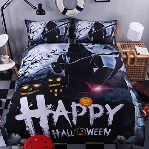 HD Happy Halloween Theme Bedding Set 1 Duvet Cover 1 Flat Sheet 2 Pillowcases (King, Happy Halloween#1)