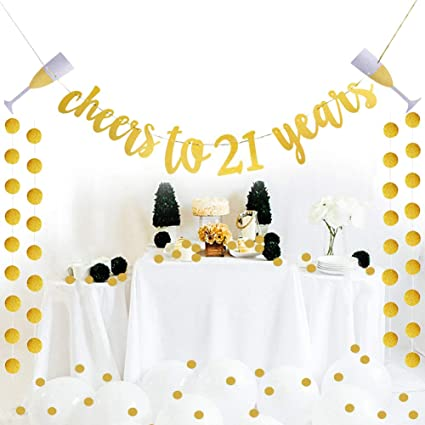 Glittery Gold Cheers To 21 Years Banner For 21st Birthday Wedding Anniversary Party Decoration