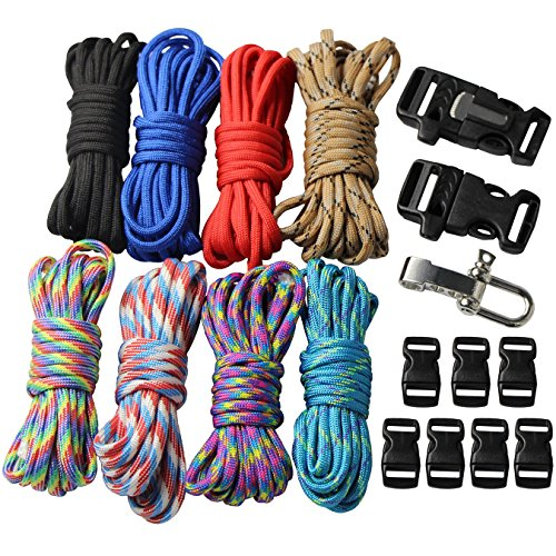 UOOOM 18 pcs Paracord Survival Bracelet kit 550lb DIY Parachute Rope with Buckles Combo Crafting Kits (Style A) -