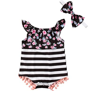6eeecc5c2 ONE'S Infant Baby Girls Floral Polka Dot Striped Pom Pom Trim Romper  Jumpsuit with Headband (