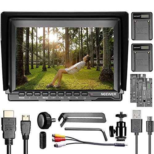 Neewer NW759 7 inches 1280x800 IPS Screen Camera Monitor with 2 Pieces USB Battery Charger + 2 Packs F550 Replacement Battery for Sony Canon Nikon Olympus Pentax Panasonic by Neewer