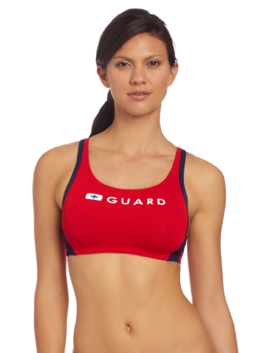 Speedo Women's Guard Sport Bra Swimsuit Top, Red, ()