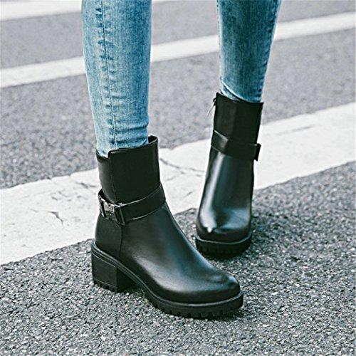 de botas botas QX con zapatos redonda de moda y hebilla grueso tacón correa de invierno impermeable cremallera El ZQ hembra Taiwán cilindro otoño cabeza el black de lateral corto 6Fwq477x