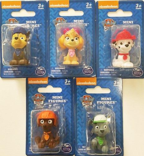 Nickelodeon Paw Patrol Mini Figurine/Cake Toppers ~ set of 5 ~ Rocky, Zuma, Skye, Marshall & Chase ()