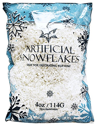 Set of 12 Ounces of Artificial Snow Flakes 4 Oz Bags Blue Printed Polybag by Regent (Image #1)