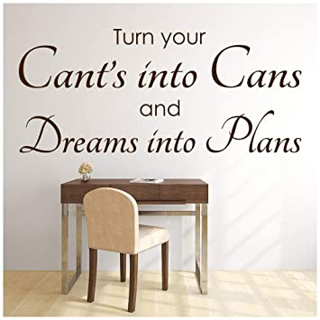 Turn Your Dreams Into Plans Inspirational Quotes Wall Sticker Home