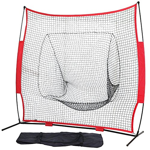 Portable Backstop Cage (Yaheetech 7'×7' Baseball Softball Practice Net with Metal Bow Frame and Carry Bag, Hitting Batting Catching Pitching Training Net)