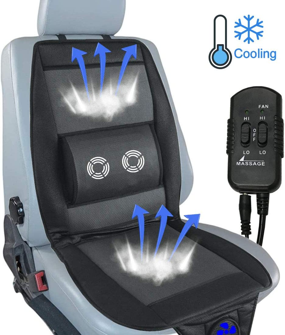 Big Hippo Cooling Car Seat Cushion with Massage, 12V Automotive Air Conditioned Cooling Fan Seat Cushion Cover Pads for Car, Truck, Home and Office Use