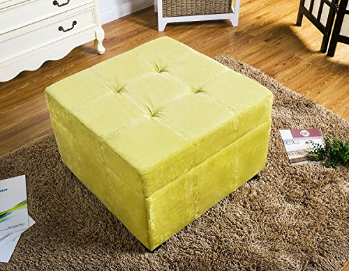 【Lowest Price】Merax Best Selling Upholstered Fabric Square Storage Ottoman Footstool, Green