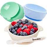 Baby Bowls with Guaranteed Suction - 4 Piece Silicone Set with Spoon - UpwardBaby - for Babies Kids Toddlers - BPA Free…
