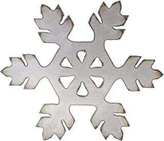 "product image for Surf To Summit Snowflake Snow Flake Sign Art Plasma Cut Corrugated Steel Rustic Metal Sign Restaurant Home Shop Wall Art Christmas Decorations Santa Snow (6.75"" Snowflake #A)"