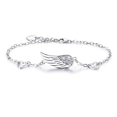 Bracelet avec aile d'ange et pierre brillant avec chaîne réglable en argent