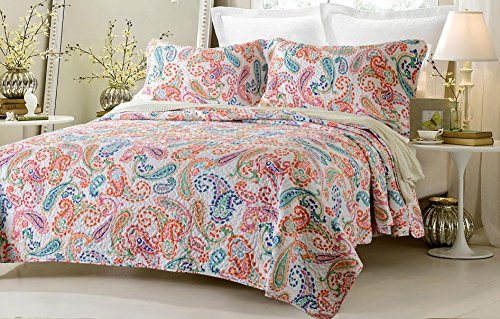 3pc Paisley Multi Color Printed Quilt Set Style # 1004 - King/California King - Cherry Hill (Prairie Fitted Sheet)