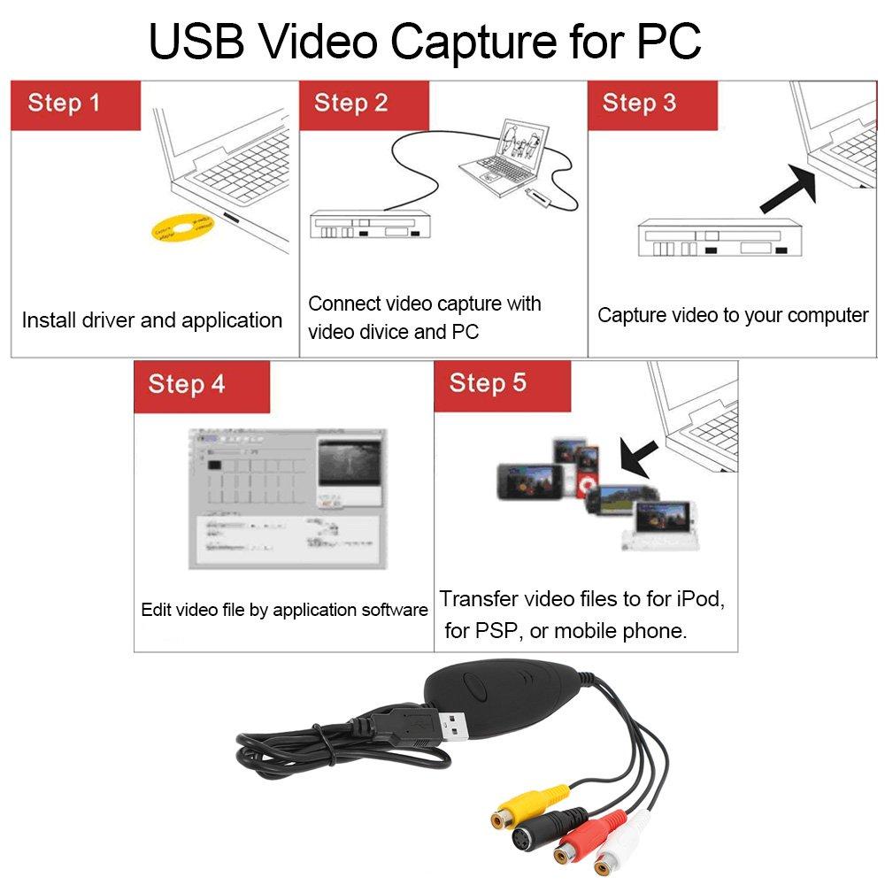 docooler EZCAP 172/USB 2.0/Video Capture HD Video convertitore Registratore Convertire Video Audio analogico in formato digitale per Windows 7/8/10
