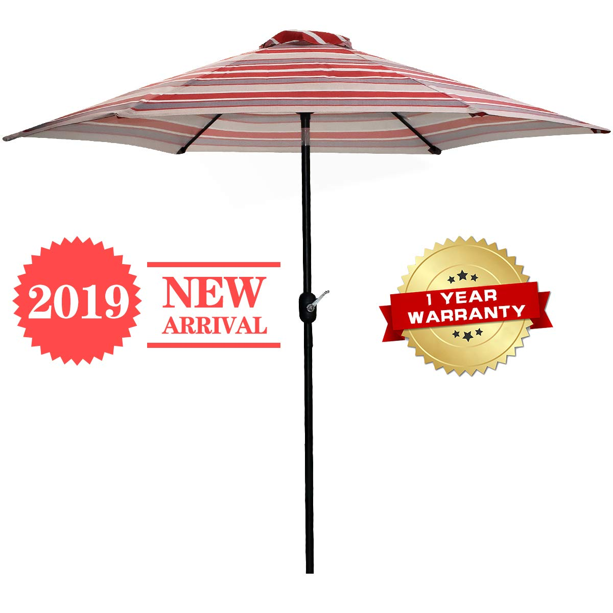 FRUITEAM Patio Umbrella Outdoor 7 1 2ft Table Umbrella with Push Button Tilt and Crank, Waterproof UV Resistant Sunbrella, Red Striped Aluminum Porch Umbrella, 1 Year Warranty
