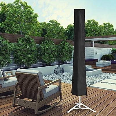 Julujiao Tech Waterproof 210D Patio Umbrella Zipper Cover fit 9ft to 11ft Umbrellas Canopy Patio Garden Outdoor (Black) : Garden & Outdoor