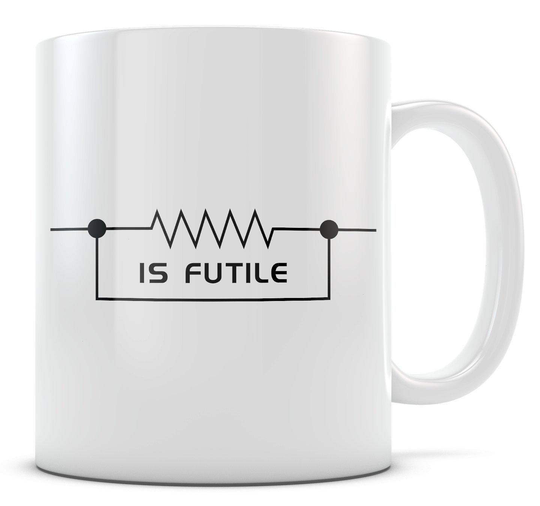 7c2253d11c6 Amazon.com: Trek Mug - Resistance is Futile - Black 15oz: Kitchen & Dining