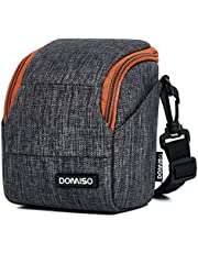 DOMISO Soft Padded Camera Case Water-Resistant with Adjustable Shoulder Strap and Side Pockets Small Camera Bag Carrying Storage Bag, Grey