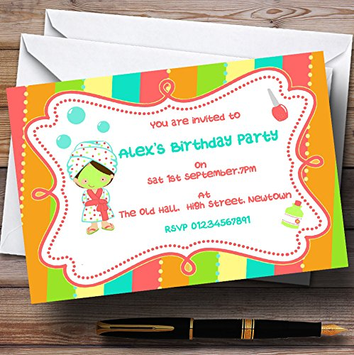 Facial Makeup Spa Theme Personalized Birthday Party Invitations