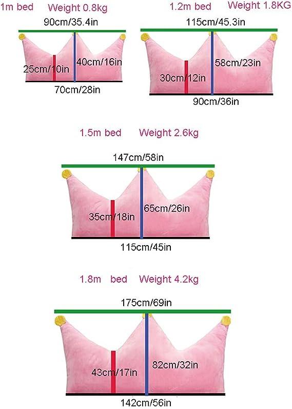 RENJIANFENG Coj/ín Corona Bordado Rosa Princesa Almohada Peluche Cojines Decorativos para La Cama Dormitorio Rosa para Play Tent Kids Almohada De Soporte para La Cintura 4 Tama/ños,1m