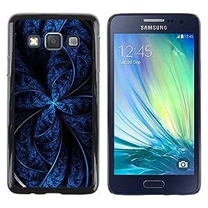 Paccase / SLIM PC / Aliminium Casa Carcasa Funda Case Cover para - Black Fractal Night Star Lines Dark Pattern - Samsung Galaxy A3 SM-A300