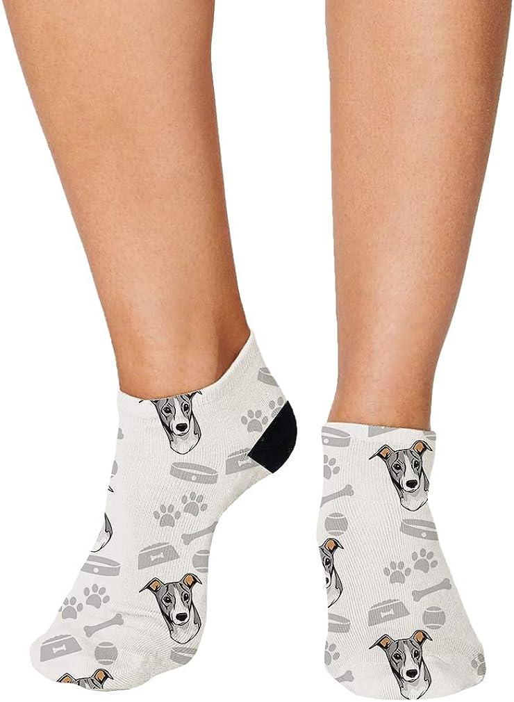 Italian Greyhound Dog Pattern Men-Women Adult Ankle Socks Crazy Novelty Socks