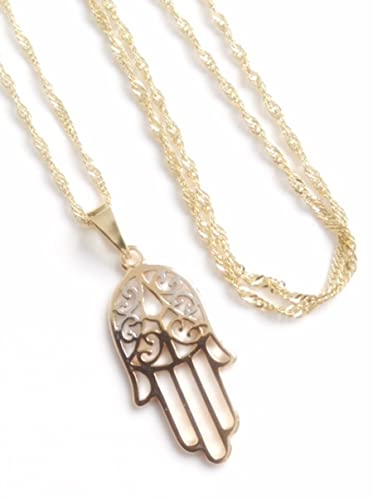 Amazon la mano de fatima pendant necklace 172 inches 18k gold la mano de fatima pendant necklace 172quot inches 18k gold and silver plated hand of aloadofball Choice Image