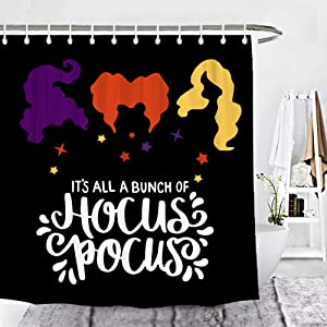 Wencal Halloween Hocus Pocus Shower Curtain Sanderson Sisters Black Background Bathroom Decor with Hooks 72 x 72 Inches