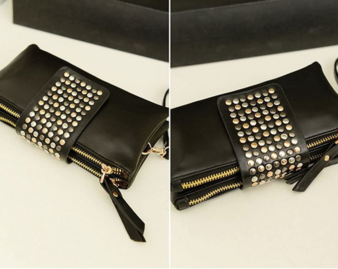 Felice Women Soft Leather Wristlet Clutch Folded Rivets Zipper Wallet Evening Bag