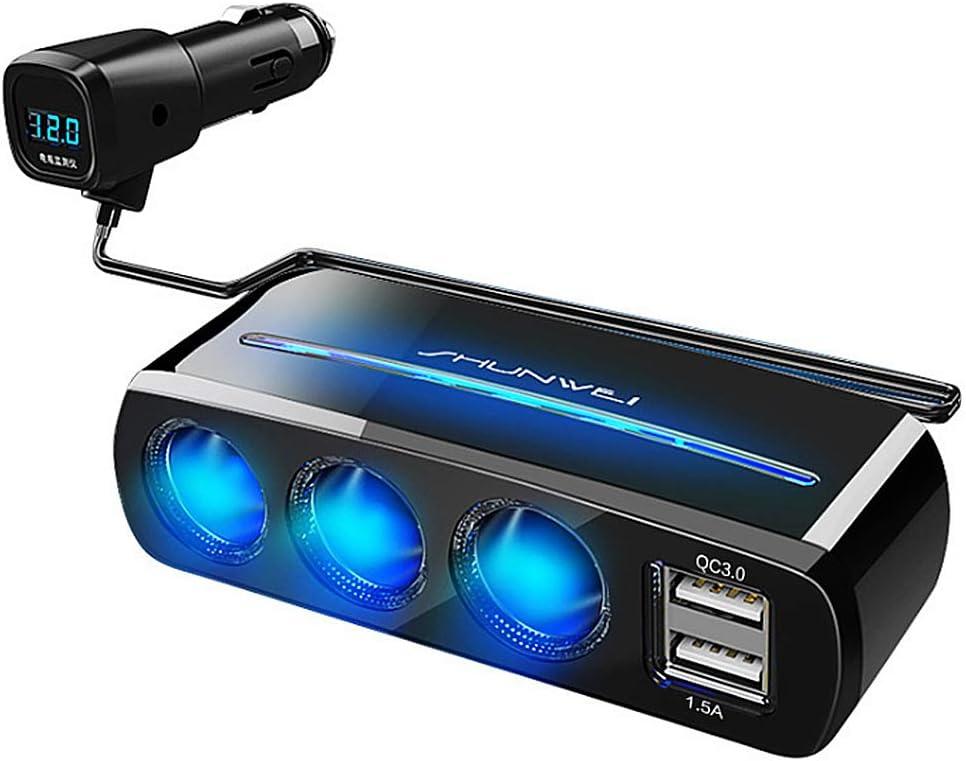 TTBF Adaptador del Encendedor del Cigarrillo de 3 zócalos 120W 3.1A 12V / 24V Adaptador del Cargador del Coche del Puerto de USB con la Pantalla LED de HD Digital Compatible