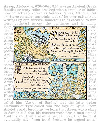 Oak and the Reeds, 11x14 inch Aesop's Fables Fine Art Print on Encyclopedic Text, From the Book The Baby's Own Aesop, 1908. Size: 11x14 inches (NDAFOakRT1114)