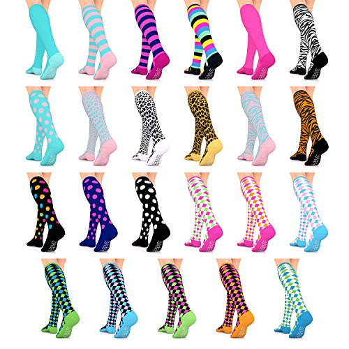Go2 Compression Socks Fashion Line 15-20 mmHg – Athletic Socks for Nurse Life – Womens Socks for Running Gym Yoga Cycling Travel Maternity – Train w/ Happy Feet – Colorful Unique Gifts for Teen Girls – DiZiSports Store