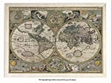 Laminated Posters Framed - Vintage Style World Map - 1626-17th Century - Push Pin Memo Notice Board - White Driftwood Effect - Matt Finish - Measures 96.5 x 66 cms (38 x 26 Inches - Approx)
