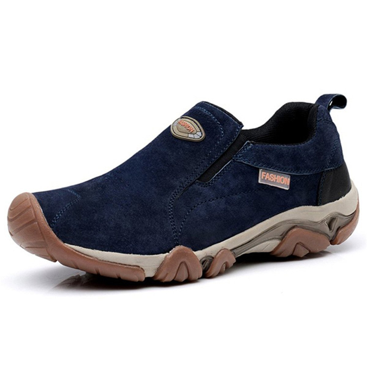 Gracosy Men's Slip On Sneaker Outdoor Hiking Casual Sneakers Cow Split Leather Shock Absorption Non-Slip Shoes Blue 7.5 D(M) US