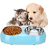Luase Pet Dog Bowl Food Water Dish Feeder Stainless Steel Feeder Pet Dog Double Bowls