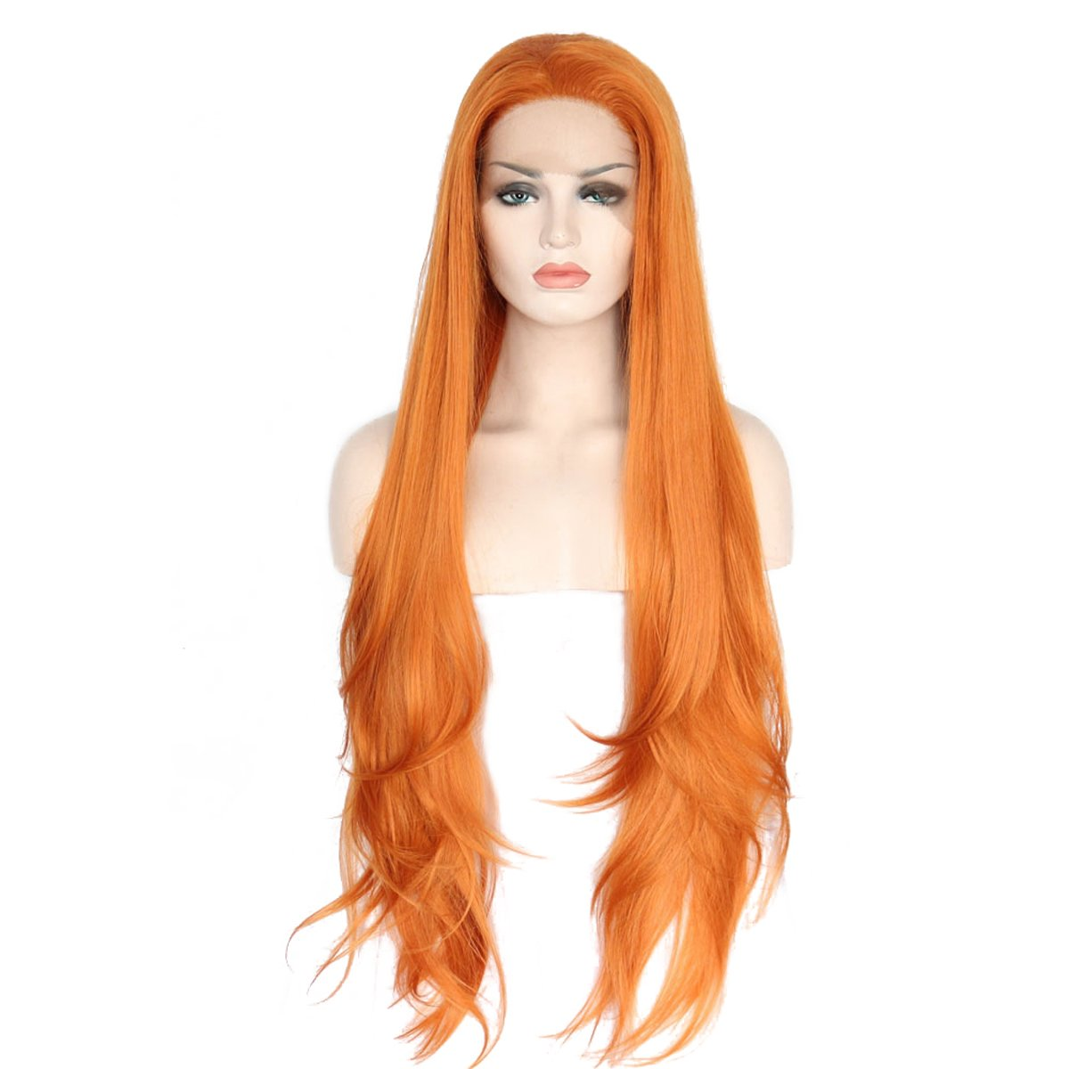 Amazon.com   Ebingoo Orange Lace Front Wig Long Straight Silky Hair Heat  Resistant Synthetic Fiber Wavy Full Wigs for Women (26 inches)   Beauty e6ddb9fa5
