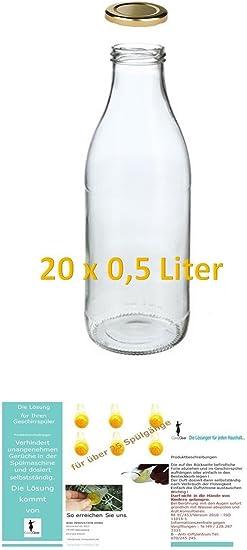 20 botellas de vidrio vacíos 500ml LECHE zumo Frascos boca ancha ...