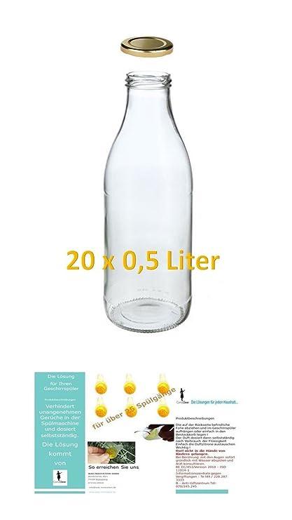 20 botellas de vidrio vacíos 500ml LECHE zumo Frascos boca ancha Jarro Vinagre Aceite Licor Y