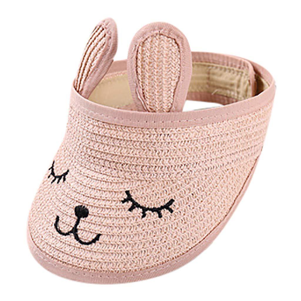 Cute Straw Hat,Babymomo Children Summer Sun Beach Hat 1-7 Years Old Boys and Girls Embroidery Rabbit Foldable Sunshade Cap