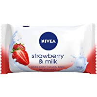 Nivea Strawberry & Milk verzorgende zeep (1 x 90 g), romige zeep met verwennende aardbeigeur, handzeep als bescherming…