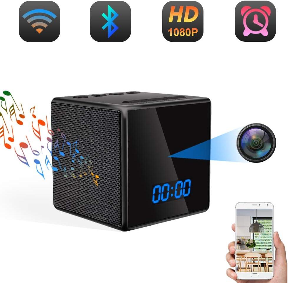 Cámara Espía Oculta WiFi TANGMI Altavoz Bluetooth Despertador HD Inalámbrico Video Vigilancia Cámaras de Seguridad Detección de Movimiento Visión Nocturna