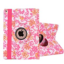 iPad Mini Case,iPad Mini 2 Case, iPad Mini 3 Case, SorbSun PU Leather 360 Degree Rotating Floral Style Folio Smart Stand Protective Case Cover for 7.9 Inch Apple iPad Mini 1/2/3, Pink