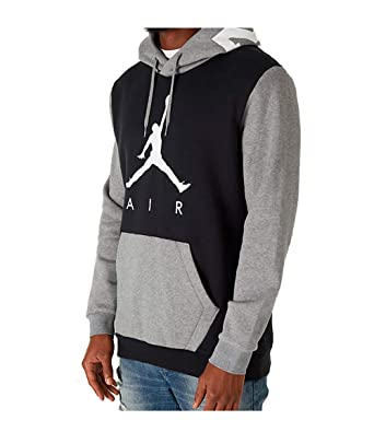 71f41674e7cb5a Jordan Nike Mens Air Jumpman Graphic Pull Over Hoodie Black Carbon Heather  AV2321-010