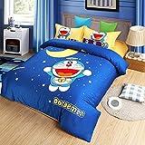 CASA 100% Cotton Brushed Kids Bedding Doraemon Duvet Cover Set & Fitted Sheet,4 Piece,Queen