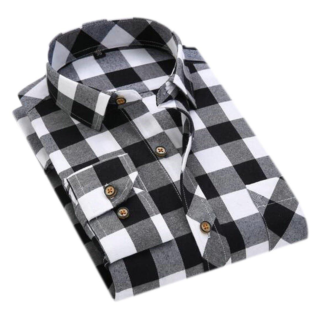 goldenharvest GH Mens Long Sleeve Cotton Lapel Button Front Plaid Work Shirts